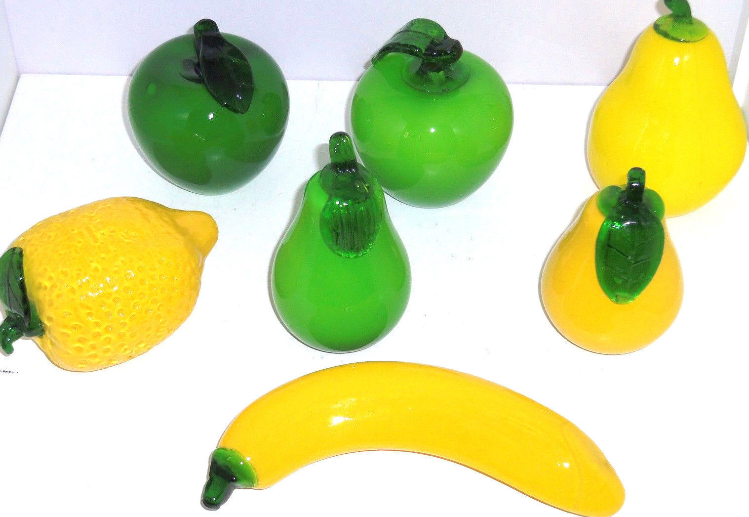Glass Art Fruit Pears Apples Lemon Banana Green Yellow  Lot of 7