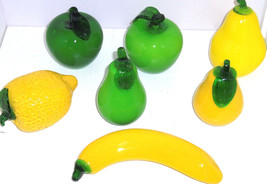 Glass Art Fruit Pears Apples Lemon Banana Green Yellow  Lot of 7 - $34.97