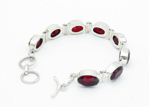 925 Sterling Silver - Vintage Faceted Oval Cut Garnet Chain Bracelet - B5827
