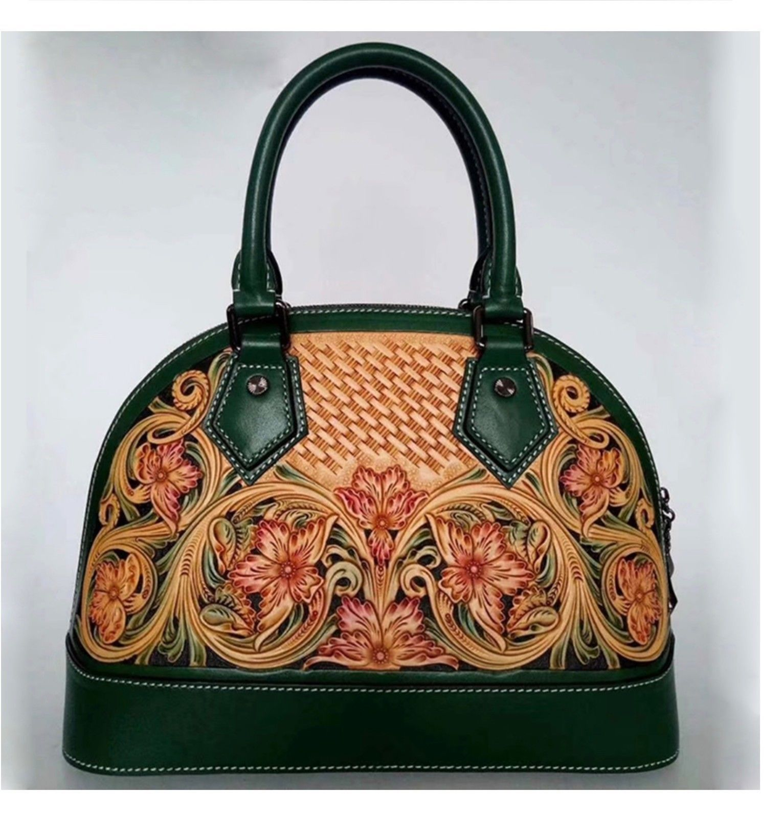 Western Floral Tooled Italian Leather Dome Satchel Handbag Purse Shoulder Bag