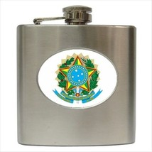 Brazil Coat Of Arms Hip Flask (Classic Stainless Steel) - Heraldic Tabard - $14.35