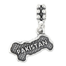 STERLING SILVER TEXTURED COUNTRY MAP OF PAKISTAN DANGLE BEAD CHARM - $17.19