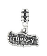 STERLING SILVER TEXTURED COUNTRY MAP OF TURKEY DANGLE BEAD CHARM - $17.19