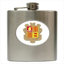 Coat Of Arms Of Andorra Hip Flask (Classic Stainless Steel) - Heraldic Tabard - $14.35