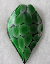 Murano Glass Black and Green Large Pointed Leaf Pendant - $19.99