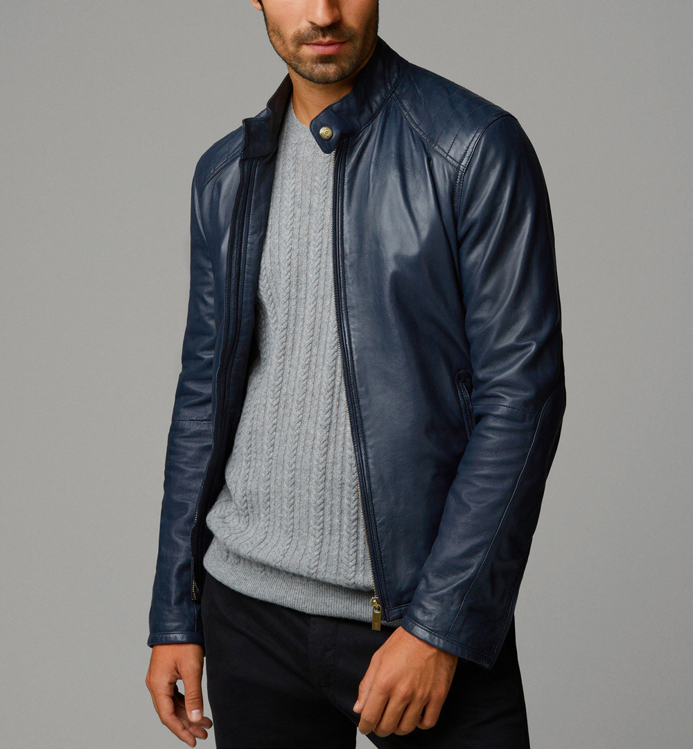 Mens fashion Blue leather jacket Mens real leather jackets Mens jackets - Outerwear