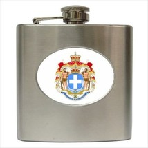 Greece Coat Of Arms Hip Flask (Classic Stainless Steel) - Heraldic Tabard - $14.35