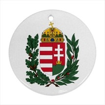 Hungary Coat of Arms Round Ornament w/ Ribbon Hanger - Tabard Surcoat - $7.17