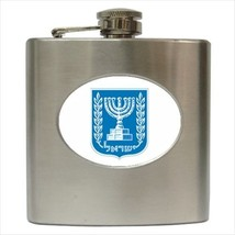 Israel Coat Of Arms Hip Flask (Classic Stainless Steel) - Heraldic Tabard - $14.35