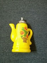Avon Koffee Klatch Bright Yellow Tea Pot Decanter Rare Color - $7.75