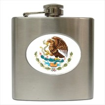 Mexico Coat Of Arms Hip Flask (Classic Stainless Steel) - Heraldic Tabard - $14.35