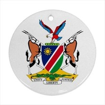 Namibia Coat of Arms Round Ornament w/ Ribbon Hanger - Tabard Surcoat - $7.17