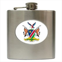Namibia Coat Of Arms Hip Flask (Classic Stainless Steel) - Heraldic Tabard - $14.35
