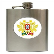 Portugal Coat Of Arms Stainless Steel Hip Flask - Heraldic Tabard Design - $14.35