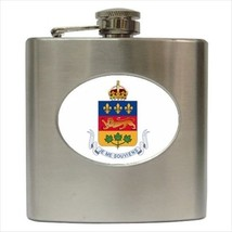 Quebec Coat Of Arms Stainless Steel Hip Flask - Heraldic Tabard Design - $14.35
