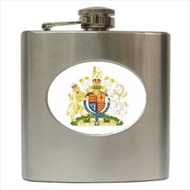 Royal Coat Of Arms UK Stainless Steel Hip Flask - Heraldic Tabard Design - €11,70 EUR