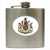 Saskatchewan Coat Of Arms Stainless Steel Hip Flask - Heraldic Tabard Design - $14.35