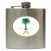 Saudi Arabia Coat Of Arms Stainless Steel Hip Flask - Heraldic Tabard Design - $14.35