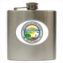 Seal Of Alaska USA Stainless Steel Hip Flask - Heraldic Tabard Design - $14.35