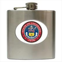 Seal Of Colorado USA Stainless Steel Hip Flask - Heraldic Tabard Design - $14.35