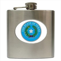 Seal Of Texas USA Stainless Steel Hip Flask - Heraldic Tabard Design - $14.35