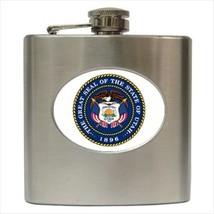 Seal Of Utah USA Stainless Steel Hip Flask - Heraldic Tabard Design - $14.35