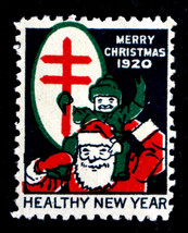 1920 US Christmas Holiday Seal WX26c - Perf 12 1/2 Single MH (Santa & Ch... - $9.99