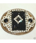 Indie Vintage Rhinestone Collage Belt Buckle Enamel - $80.75