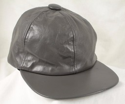 "Leather Gray Grey Baseball Cap Hat USA Sz Large L 22.5""  Fitted 7 - $24.98"