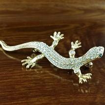 "Roman Jewelry Gold TN Swarovski Crystal Lizard Brooch Pin 2.5"" Long - $29.65"