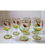 Elegant Crystal Green Wine Cordials with Gold Leaves - $14.00