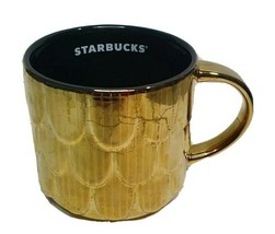 Starbucks Mug Ceramic Gold Mermaid Scales Scalloped Coffee Mug 14 fl oz ... - $20.69