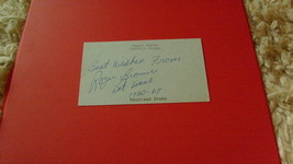 """AUTOGRAPH  OF   ROGER  BROWN   ON  3 X 5""""  INDEX  CARD   !! - $19.99"""