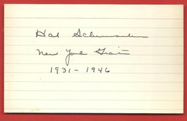 HAL  SCHUMACHER   AUTHENTICATED   HAND  SIGNED   AUTOGRAPHED   INDEX  CA... - $19.99