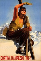 WINTER SPORT WITH SUN CORTINA D'AMPEZZO ITALY SKI MOUNTAINS WOMAN SKIING... - $64.48