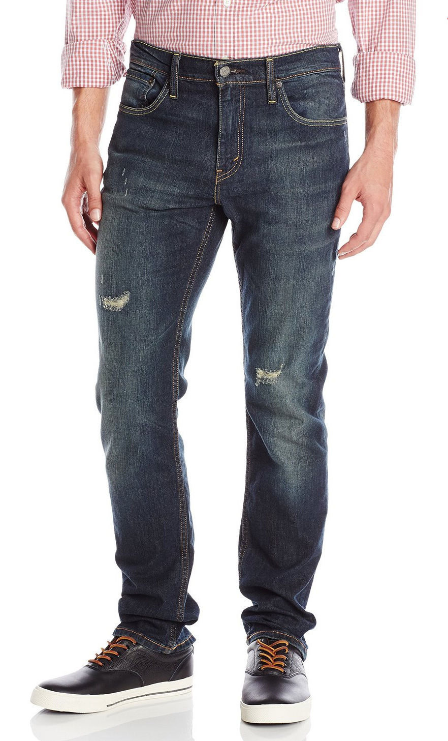 NEW LEVI'S STRAUSS 511 MEN'S SLIM FIT PREMIUM DISTRESSED DENIM JEANS 04511-1317