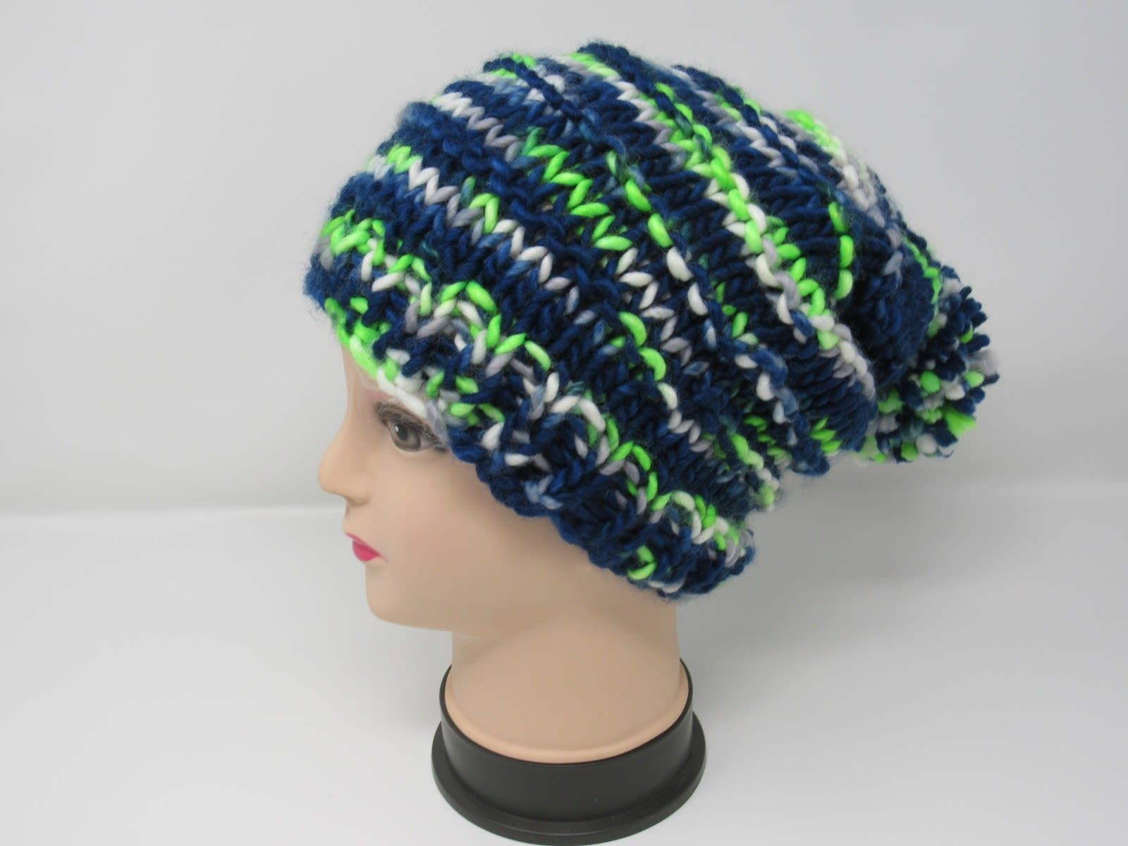 Handcrafted Knitted Hat Beanie Pom Pom 100% Merino Wool Female Adult Striped