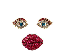 Betsey Johnson Goldtone Pave Lips Stretch Ring & Eye Stud Earring Set - $45.00