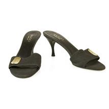Gucci Dark Grey Denim Fabric Wooden Heels Slides Mules Sandals Shoes sz 38.5  - $147.51