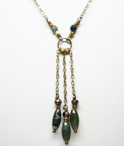 Moss agate with charcoal crystal triple chain beaded necklace - $70.50