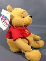 "Disney Store Winnie Pooh Bear Plush Mini Bean Bag 8"" Stuffed Toy Santa Hat  - $7.59"
