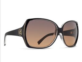 New VONZIPPER Sunglasses VZ TRUDIE Black on Crystal Frame w/ Grey Gradient Brown