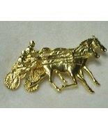 P.Stacey Harness Racing Brooch Pin- 2 Jockeys Sulkies-Horses Going Neck ... - $9.50