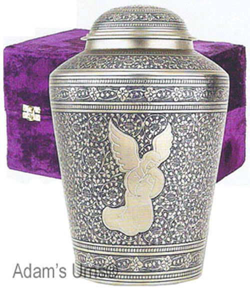 Silver Angel, Brass Funeral Cremation Urn Keepsake w. Velvet Heart Box, 3 Inches