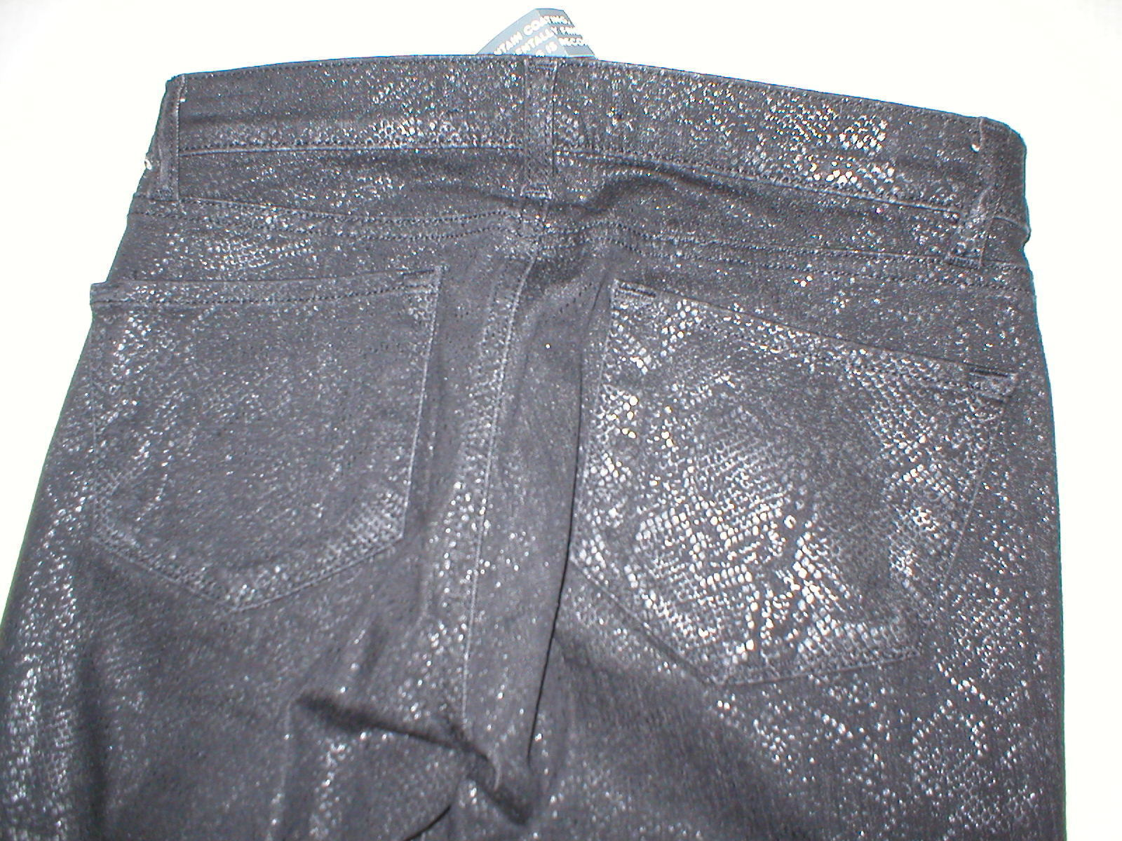 New J Brand Jeans Skinny Womens Leggings Black Matte Boa Snake 25 Coated USA image 3