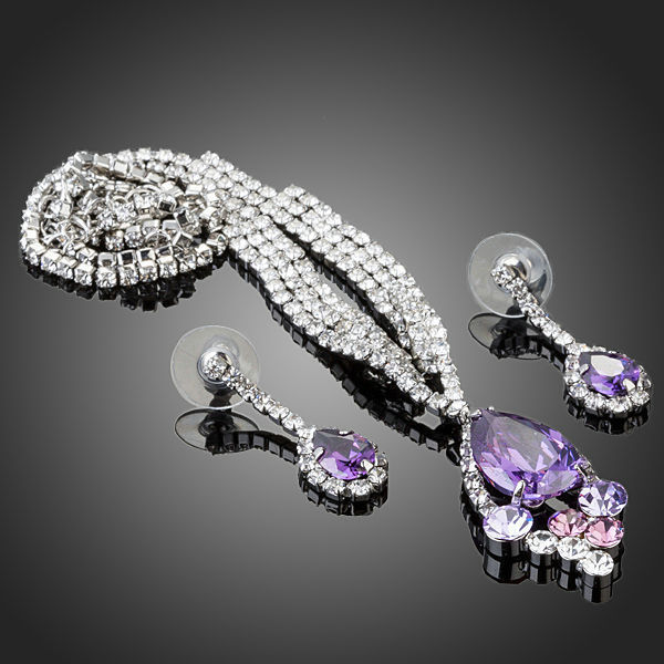 Purple Cubic Zirconia Necklace and Earrings Set Bridal Set ...