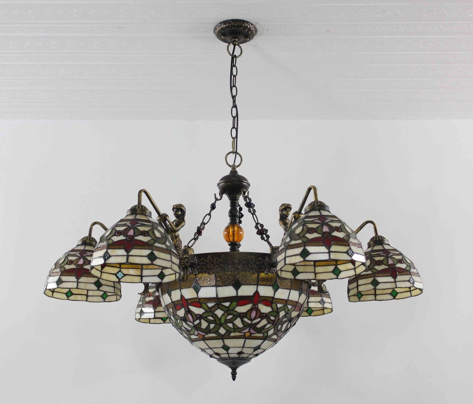Upscale Lighting Fixtures: Tiffany Chandelier Stained Glass Lamp Ceiling Pendant