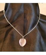 purple glass heart necklace catseye pendant silver chain romance love je... - $5.99