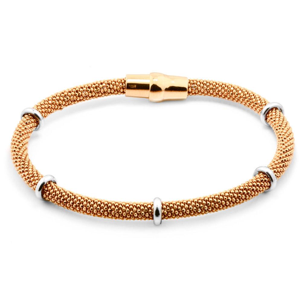 4.5mm Women's 14K Gold Over 925 Sterling Silver Popcorn Mesh Italian Bracelet