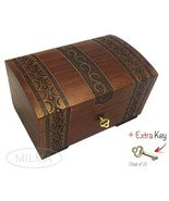 Handmade Wooden Chest Box w/ Lock and Key Polish Linden Wood Jewelry Kee... - $46.52